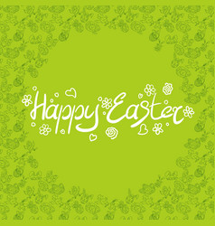 green poster easter holiday with doodle texture vector image