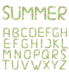 Green summer letters vector