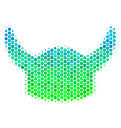 halftone blue-green horned helmet icon vector image