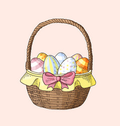 hand drawn easter basket with eggs vector image