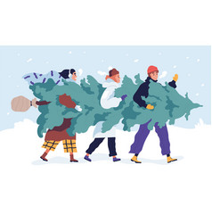 happy friends carrying christmas tree flat vector image