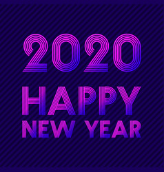 happy new year 2020 background retro line design vector image