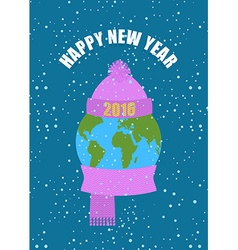 Happy new year earth in winter planet in knitted vector
