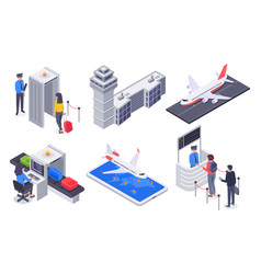 Isometric airport passengers tourism flight vector