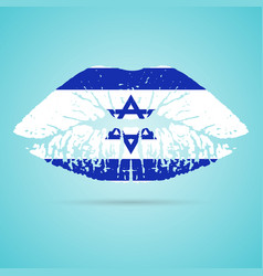 Israel flag lipstick on the lips isolated on a vector