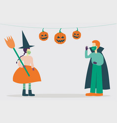 Kid characters wearing halloween costumes and vector