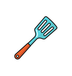 Kitchen spatula with wooden handle isolated icon vector