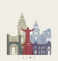 lima skyline poster vector image