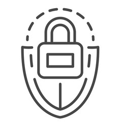 Lock shield icon outline style vector