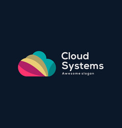 Logo cloud systems colorful style vector