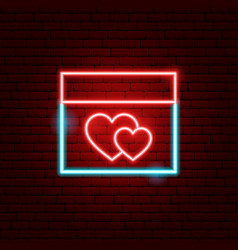 Love calendar neon sign vector