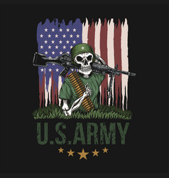 machine gun skull american army vector image