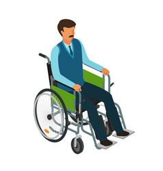 Man sits in wheelchair invalid disabled cripple vector