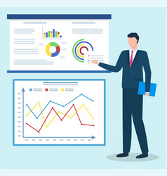 manager on business meeting data graphic on board vector image