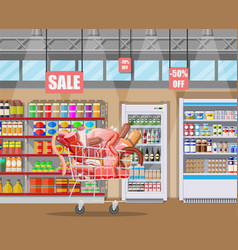 meat products in supermarket cart vector image