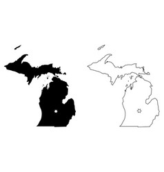 Michigan mi state map usa with capital city star vector