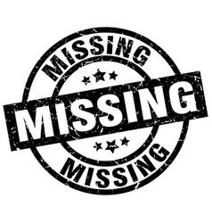 Missing round grunge black stamp vector