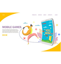 mobile games website landing page design vector image