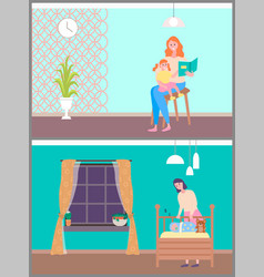 Mom caring child reading and basleeping vector
