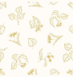 Monochrome seamless pattern with linden leaves vector