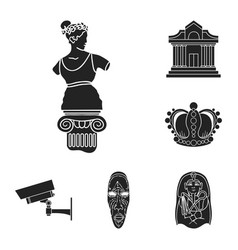 museum and gallery black icons in set collection vector image
