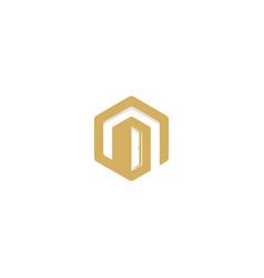 Polygon building technology logo vector