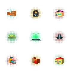 Public building icons set pop-art style vector image