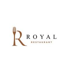 R letter mark fork food restaurant logo icon vector