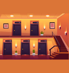 Rooms in hotel corridor and stairs on second floor vector