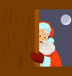 Santa claus holding blank door vector