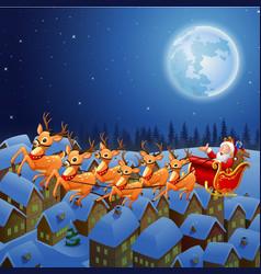 Santa claus riding his reindeer sleigh flying in t vector