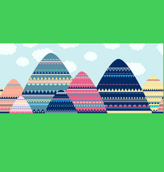 seamless decorative mountain landscape vector image
