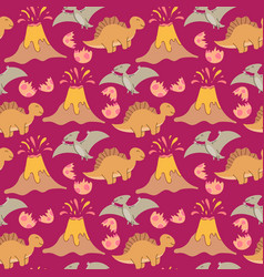 seamless pattern with dinosaurs palms vector image
