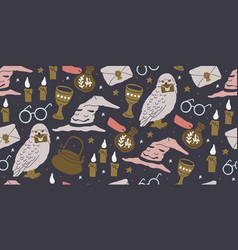 Seamless pattern with magician objects vector