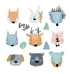 set cute animals heads on white background vector image