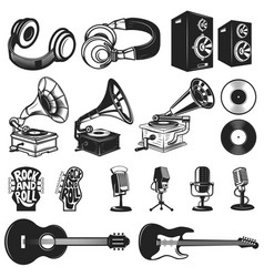 set of design elements for music labels vector image