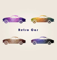 Set of the retro multicolor car icons vector