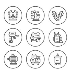 Set round line icons of motor and engine vector