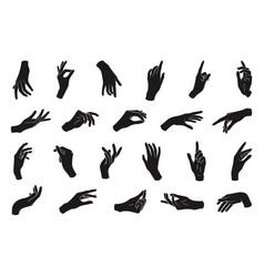 set various black silhouette woman hands vector image
