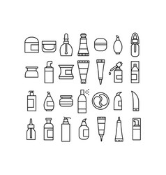 Skin care cosmetics and hygiene products icons set vector