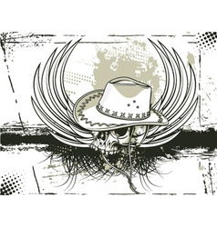 skull with grunge background vector image vector image