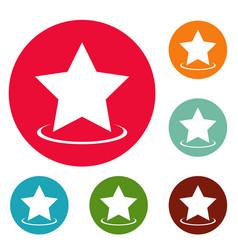 star icons circle set vector image