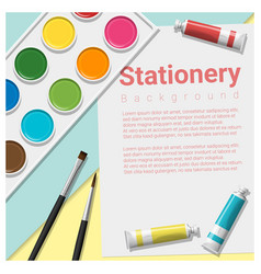 stationery scene mock up with art supplies vector image
