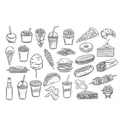 Street food icons vector