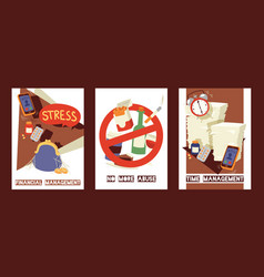 Stress and stressful situation concept cards set vector