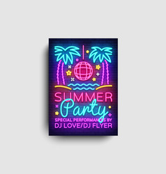 summer party invitation card design template vector image