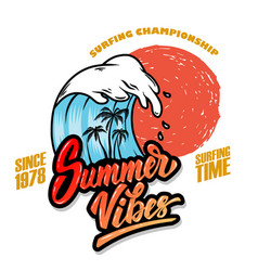 Summer vibes emblem template with sea waves and vector
