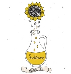 Sunflower oil in bottle vector image