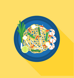 thai food pad thai stir-fried rice noodle vector image