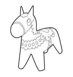 Toy horse icon outline style vector